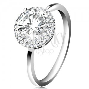 Rhodium plated ring, 925 silver, round clear zircon, glossy border