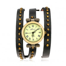 Wrist watch, narrow studded strap in black colour with triple wrap around