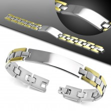 Bracelet made of 316L steel, shiny and smooth tag, two-colour H-shaped links