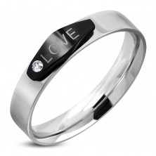 Steel ring in sivler colour, black oval with inscription LOVE and a zircon