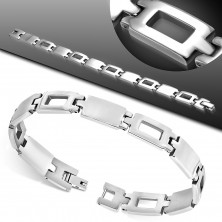 Bracelet made of surgical steel, full and contour rectangles, silve colour