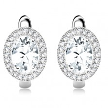 Silver 925 earrings, oval zircon in clear colour, rim made of small zircons