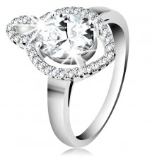 Ring in 925 silver, oval clear zircon with shimmering rim, small grain-shaped contour