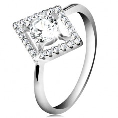 Silver 925 ring, clear round zircon inside shimmering rhombus contour