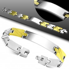Steel bracelet, shiny and smooth tag, two-coloured engraved Y-shaped links