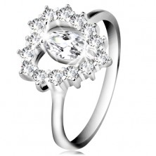 925 silver ring, cut zircon grain, heart contour, clear zircons