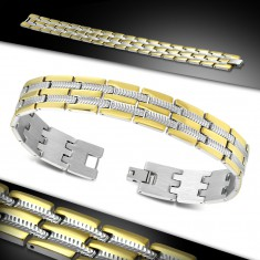 Bracelet made of surgical steel, bicoloured engraved links, notches