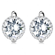 925 silver earrings, big round zircon in clear colour with glossy border
