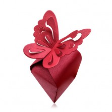 Gift box in claret colour, big butterfly with cutouts on wings