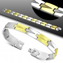 Bracelet made of 316L steel, bicoloured links with engraved triangles