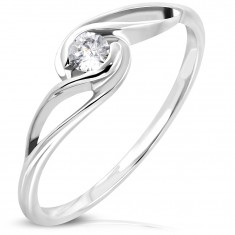 Ring made of surgical steel in silver colour, round clear zircon, wavy shoulders
