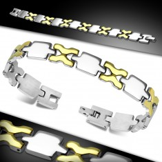 Bracelet made of surgical steel, shiny links in gold and silver colour