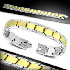 Steel bracelet, bicoloured Y links with engraved notches on the sides