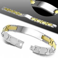 Bracelet made of 316L steel, shiny smooth plate, bicoloured links, zigzag pattern