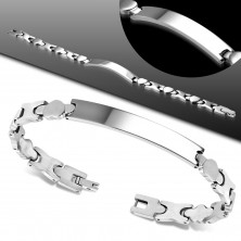 Steel bracelet in silver colour - matt hearts, shiny X links and plate