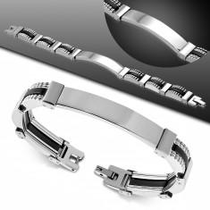 Steel-rubber bracelet, narrow links in silver colour, black joints, plate