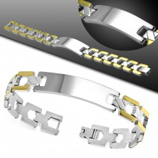 Bicoloured bracelet made of 316L steel with plate, smooth Y elements, high gloss