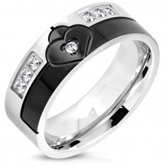 Ring made of surgical steel in black and silver colour, heart with zircon, 8 mm