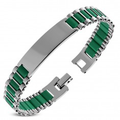Bracelet made of surgical steel and green rubber oblongs, shiny plate