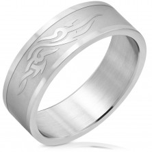 Steel ring with matt centre, shiny ornaments and borders, 8 mm