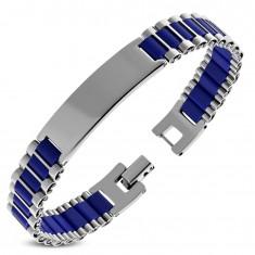 Bracelet made of 316L steel with plate, dark blue rubber oblongs
