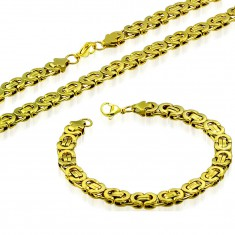 Set of necklace and bracelet, 316L steel in gold colour, Byzantine pattern