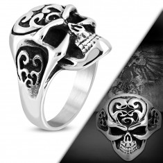 Massive ring made of 316L steel, skull with ornaments on forehead, black patina
