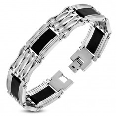 Bracelet made of surgical steel and black rubber, wide elements with decorative cutouts