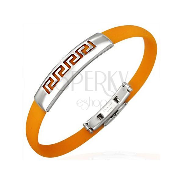 Orange rubber bangle - Greek key