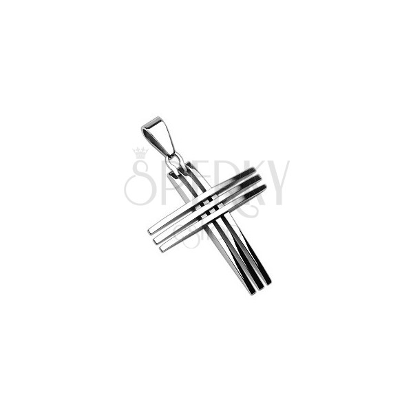 Pendant made of surgical steel - cross composed of thin crossed lines
