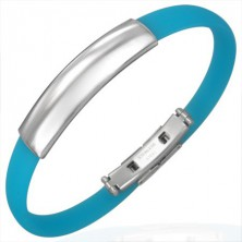 Blue rubber bangle - smooth plate