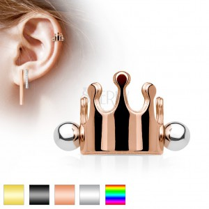 fe18806d6 Steel ear piercing, royal crown, barbell with balls, various colours ...