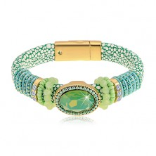 Bracelet in green colour with snake pattern, big cut oval, beads and strings