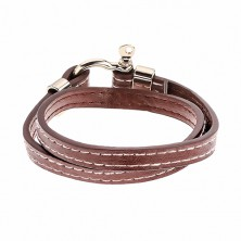 Brown leatherette bracelet for wrapping around the wrist, white stitches