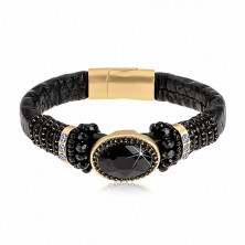 Black bracelet with floral pattern, big black cut oval, beads and strings