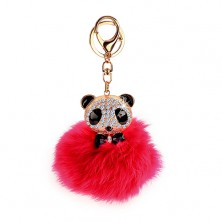 Pink keychain with panda bear - fur ball, lobster in gold colour