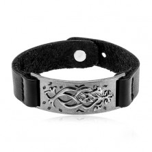 Black synthetic leather bracelet, steel dark gray tag with ornament