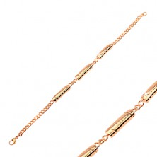 Steel bracelet in copper hue, three rolls with diagonal notches