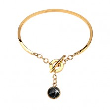 Bracelet made of 316L steel in gold colour, incomplete oval with dangling black zircon