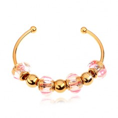 Bracelet made of 316L surgical steel in gold colour, glass and steel beads