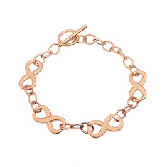 Bracelet made of 316L steel in copper hue with infinity symbols