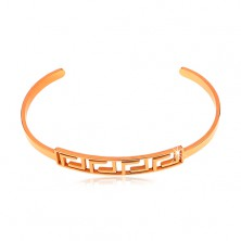 Bracelet made of surgical steel with Greek key motif, copper colour