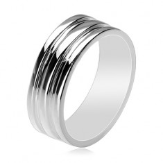 925 silver ring - band with two hollowed strips, 8 mm