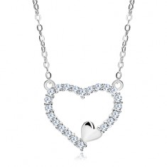 925 silver necklace, zircon heart contour and small heart