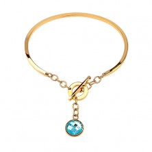 Steel bracelet in gold colour, incomplete oval with dangling blue zircon