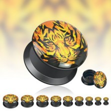 Black saddle ear plug - face of tiger