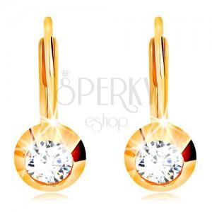 585 gold earrings - round glossy mount, cut clear zircon
