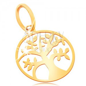 Pendant made of yellow 585 gold - small shiny flat tree of life in circle