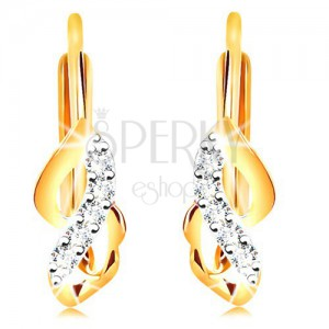 585 gold earrings - shiny bicoloured waves with clear zircons
