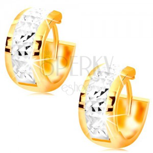 585 gold earrings - wider circles adorned with white gold and notches